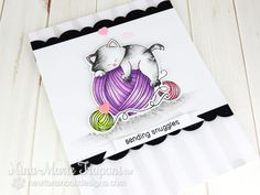 Cat and Yarn Card by Nina-Marie Trapani | Newton Unwinds Stamp Set & Die Set by Newton's Nook Designs #newtonsnook