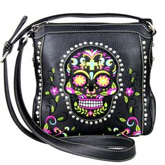 Montana West Messenger Cross Body Bag Western Day Of The Dead Sugar Skull Concealed Weapon Gun Carry