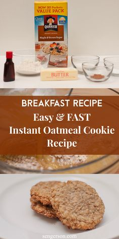 This is a delicious instant oatmeal cookies breakfast recipe that only has 7 ingredients. Your family is sure to love it! #instantoatmealrecipe #oatmealrecipe #breakfastcookies #breakfastcookie