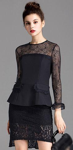Elegant Lace Stitching O-Neck Long Sleeve Two Piece Bodycon Dress