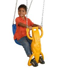 Wind Rider Glider Swing. Ergonomic design with back supported seat provides additional comfort for single child to use. Provides transition from early toddler swing to regular swing seat. Attaches quickly to any standard duty swing hanger set-up. Hand grips and foot holders for a more secure position and provides increase in child strength and coordination. FOR PRIVATE BACKYARD USE ONLY! DO NOT USE IN PUBLIC SETTINGS!.