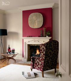 For a night in front of the fire, keep the passion alive with this bold red feature wall Red Feature Wall, Feature Wall Living Room, Dulux Feature Wall, Cream Living Rooms, Living Room Red, Red Rooms, Purple Rooms, Pink Bedrooms, Pink Room