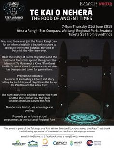 """Winter Solstice Magic Experience Winter Solstice magic as part of this year's Hawke's Bay FAWC event: """"Te kai o Neherā"""", """"the food of ancient Today Calendar, Bay News, Delicious Restaurant, Eczema Psoriasis, Stone Fruit, Skin Cream, Natural Wonders, The Balm, 21 June"""