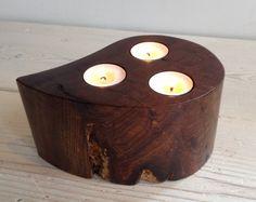 Unique tealight holder, candle holder, deep candle, Scottish elm wood, triple, wooden, handmade, natural, tea light, interesting (item 169)