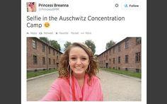Outra sem noção foi fazer uma visita ao campo de concentração Auschwitz e achou de bom tom fazer um selfie. Tsc. . Foto: Divulgação / Reprodução