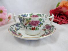 1900s Vintage Booths English Bone China Footed Cream Soup Bouillon Bowl and Saucer – 6 Available