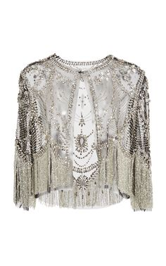 **Naeem Khan** Embellished Jacket features a jewel neckline and an embellished mesh construction. Fashion Clothes, Fashion Dresses, Formal Tops, Naeem Khan, Stage Outfits, Designer Dresses, High Fashion, Textiles, Style Inspiration