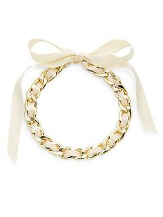 R. J. Graziano Ribbon & Chain Necklace - Ivory - Size No Size