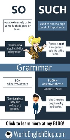 Learn English 304696731037868871 - 💬English Grammar – So and Such – Learn to use the confusing English words SO and SUCH just like a native speaker! Source by wcrozes English Grammar Rules, Teaching English Grammar, English Writing Skills, English Vocabulary Words, Learn English Words, Grammar And Vocabulary, English Phrases, English Language Learning, English Lessons