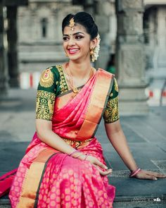 Amazing PinkColored Soft Silk Saree with Matching Color silk Blouse. It contained of Printed. The Blouse which can be customized up to bust size This Unstitch Saree Length mtr including mtr Blouse. South Indian Wedding Saree, Indian Bridal Sarees, Wedding Silk Saree, Bridal Sari, Bengali Wedding, South Indian Sarees, South Indian Weddings, Wedding Saree Blouse Designs, Silk Saree Blouse Designs