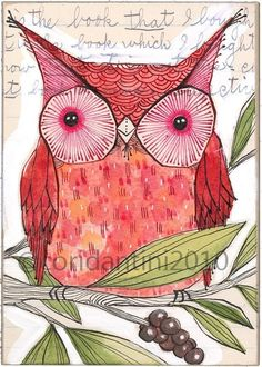 whimsical watercolor folk painting of a red owl - illustration - limited edition and archival print - 5 x 7 inches - by cori dantini
