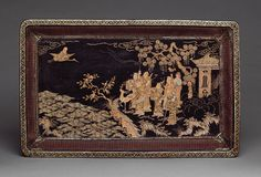Rectangular tray with Daoist immortals, Ming dynasty (1368–1644), 16th century  China  Black lacquer with mother-of-pearl inlay; basketry sides