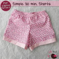 Simple 30 minutes Shorts for boy/girl- perfect project for beginners - 0 months to 8 years - PDF Pattern and Tutorial - easy sew. $5.90, via Etsy.