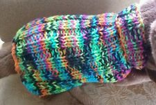 Hand knit Dog Sweater Blacklight Neon colors Easy Fit Ribbing Easy Care small