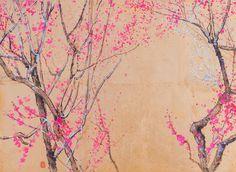 Lumi Mizutani | Plum Tree From Higashiyama II | Ink and pigments on wood | http://www.artistics.com/en/art/lumi_mizutani/prunier-de-higashiyama-ii