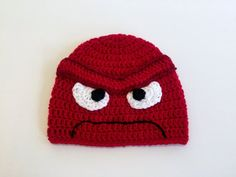 Anger Hat, Inside Out Beanie, Crochet Halloween Costume, All Sizes Available