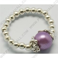 Fashion Glass Pearl Stretch Ring J-JR00014 -3 Round Pearl Glass Rings, with Silver color Iron Beads and Tibetan Style Caps, Mixed Color, Rings: about 20mm inner diameter; Round Pearl Glass Beads: about 8mm inner diameter; Spacer Beads: 3mm diameter.,