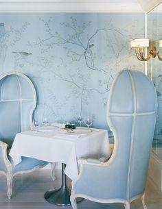 Floral Wallpaper by De Gournay Askew Bergdorf Goodman's restaurant by Kelly Wearstler