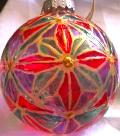Belle Lafaye: Creations by Aria Christmas Balls, Christmas Ornaments, Hand Painted, Shapes, Holiday Decor, Flowers, Handmade, Crafts, Etsy