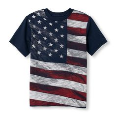 s Boys Short Sleeve American Flag Graphic Tee - Blue T-Shirt - The Children's Place