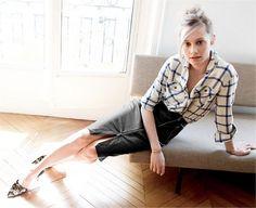 Plaid shirt and pencil skirt