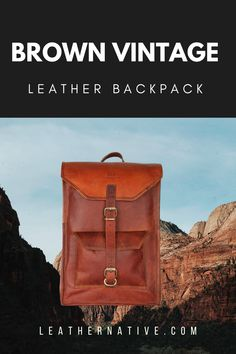 "The 15"" Brown Vintage Leather Backpack is suitable and soft, which can effectively decrease the pressure on the shoulder. You can also adjust the length of the arm strap according to your needs. This unique design with classy looking. Vintage Leather Backpack, Leather Backpack For Men, Small Leather Bag, Leather Bags Handmade, Handmade Bags, How To Make Leather, Natural Leather, Brown Leather, Rucksack Backpack"