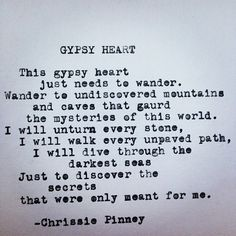 Gypsy Heart poem typewriter poetry - Prosper series no. 37 #gypsyheart Chrissie pinney