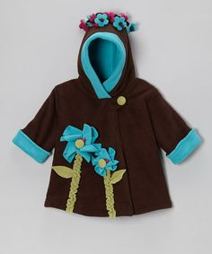 Take a look at this Brown & Turquoise Fleece Wrap Swing Coat - Infant, Toddler & Girls by Corky & Company on #zulily today!
