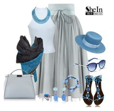 Azul by angiemine213 on Polyvore featuring Miss Selfridge, Fendi, Karen Kane, Bahina, Yves Saint Laurent and Vince Camuto