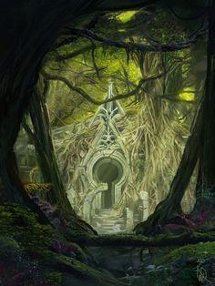 48 ideas for concept art forest cities Fantasy Places, Fantasy World, Fantasy Art, Forest Scenery, Forest City, Landscape Concept, Fantasy Landscape, Landscape Art, Elven City