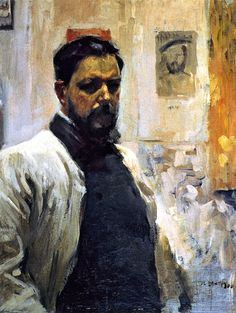 Sorolla y Bastida, Joaquin (1863-1923) - Self-Portrait............Joaquín Sorolla y Bastida  (born 27 February 1863 Valencia, Spain– died 10 August 1923 (aged 60) Madrid, Spain) was a Spanish painter. Sorolla excelled in the painting of portraits, landscapes, and monumental works of social and historical themes.