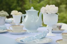 tea party, china, milk glass, peony, lace, baby shower, teapot, baby blue, lace, outdoor entertaining, felicia gwen photography