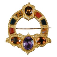 Victorian Period Scottish Scottish Chalcedony & Cairngorm Brooch mounted in 15kt Gold, UK, circa 1875