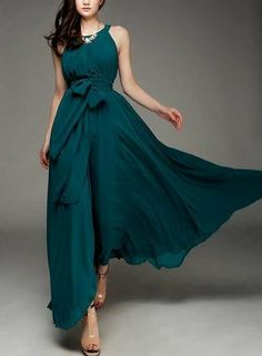 Spring summer chiffon long dress lady women clothing by handok, $83.00