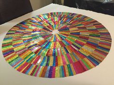 Forming art work from recycled confectionery and chocolate wrappers. Rowntrees Fruit Pastilles, Modern Art, Contemporary Art, Quality Street, Square Art, Collage Artists, Confectionery, Beach Mat, Recycling
