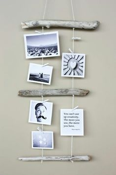Easy idea for a hanging picture mural. I like the black and white pictures with this.