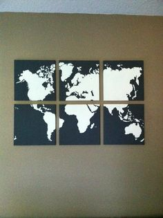 World map multi-canvas painting
