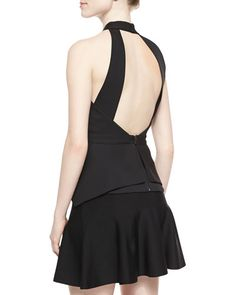 BCBG  Remmie Cross-Neck Cutout Top, Black  BCBGMAXAZRIA Remmie top in ponte. Crisscross neckline; open back. Sleeveless; cut-in shoulders. Triangular cutout at midsection. Layered, folded hem. Back zip and buttons. Polyester.