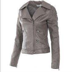 Imitation Leather Jacket by Monoreno Gray Moto Imitation Leather Jacket.  100% PVC.  Metal Stud Details.  Zipper Close.  Zipper Sleeves.  Price Firm Unless Bundled.  No Trades. Monoreno Jackets & Coats