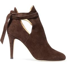 Jimmy Choo - Marina Cutout Suede Ankle Boots ($475) ❤ liked on Polyvore featuring shoes, boots, ankle booties, dark brown, ankle boots, cut-out ankle boots, cutout ankle bootie, cut out ankle booties and high heel booties
