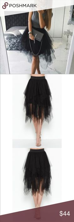Mesh Tiered Skirt Fabulous black mesh tiered skirt with partial liner. This skirt is very fashion forward with a tiered design of cascading mesh layers with an asymmetrical cut. Elastic waist. You can really dress it up or wear a graphic T. Esley Skirts High Low