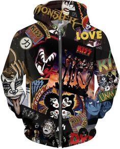 KISS Discography Allover Print Zip Hoodie, Brand New and OFFICIAL KISS Merchandise! This product is hand made and made on-demand. Expect delivery to US in business days (international business days). XS S M L XL Overall Length 29 Width 22 2 Zip Hoodie, Rock And Roll, Kiss Merchandise, Hooded Sweatshirts, Hoodies, Kiss Band, Hot Band, Personalized T Shirts, Looks Cool
