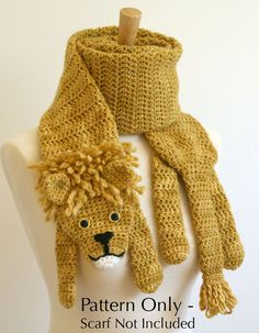 Crochet Pattern for Lion Scarf - this Etsy shop has the cutest scarf patterns for sale!