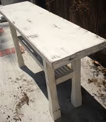 salvaged white console table