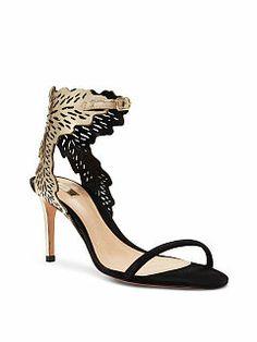 Victoria's Secret Gold and Black Gabrianna Laser-cut Sandal