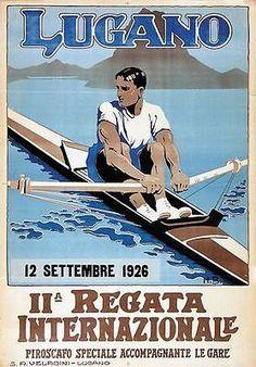1926 Lugano Rowing Regatta Poster A3 Print