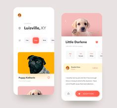 Haustiere Adoption von Anton Mikhaltsov - Animals and Pet Supplies Ui Design, Ios App Design, Mobile App Design, Mobile Ui, Website Design Layout, Website Design Inspiration, Ui Inspiration, Anton, Black Puppy