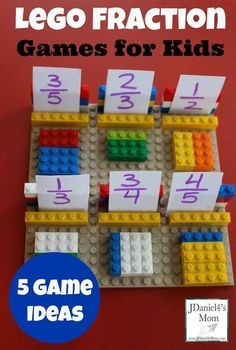 Lego Fraction Games for Kids. A great learning activity Lego Fraction Games for Kids. A great learning activity Fraction Games For Kids, Easy Math Games, Fraction Activities, Math Games For Kids, Lego For Kids, Kids Learning Activities, Kids Math, Lego Games, Kid Activites