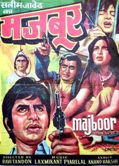 Majboor (1974) , Amitabh Bachchan,  Classic, Indian, Bollywood, Hindi, Movies, Posters, Hand Painted