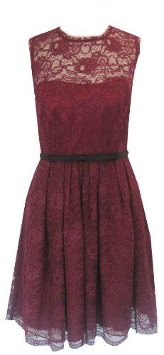 Fashion Bug Purple Illusion Yoke Lace Fit Flare Plus Size Dress